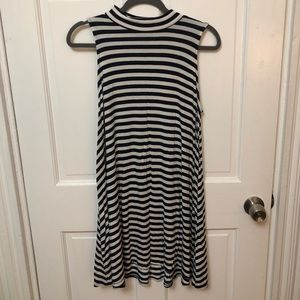 High Neck Striped Navy and White Tank Dress